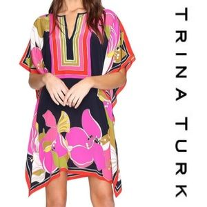 Trina Turk silk Theorda dress floral pink medium